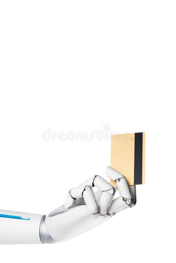 Cropped image of robot holding credit card in hand. Isolated on white stock photography
