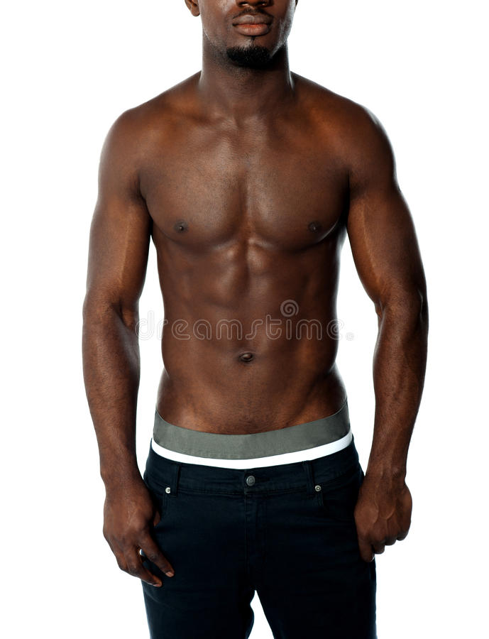 Cropped image of shirtless fit african guy