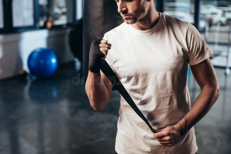 Cropped image of sportsman wearing sports bandage. In gym stock photos