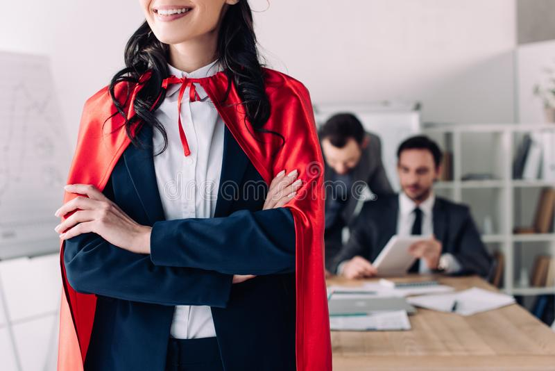 cropped image of super businesswoman stock image