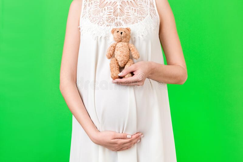 Cropped image of teddy bear in hand against pregnant woman`s belly in white dress at green background. Waiting for a childbirth. Copy space royalty free stock photos