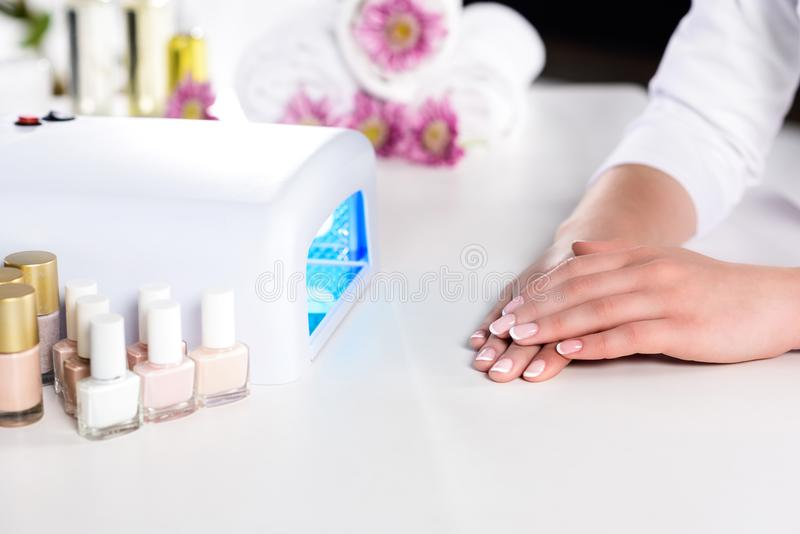 Cropped image of woman holding hand near working uv lamp at table with flowers, nails polishes and towels. In beauty salon royalty free stock photos