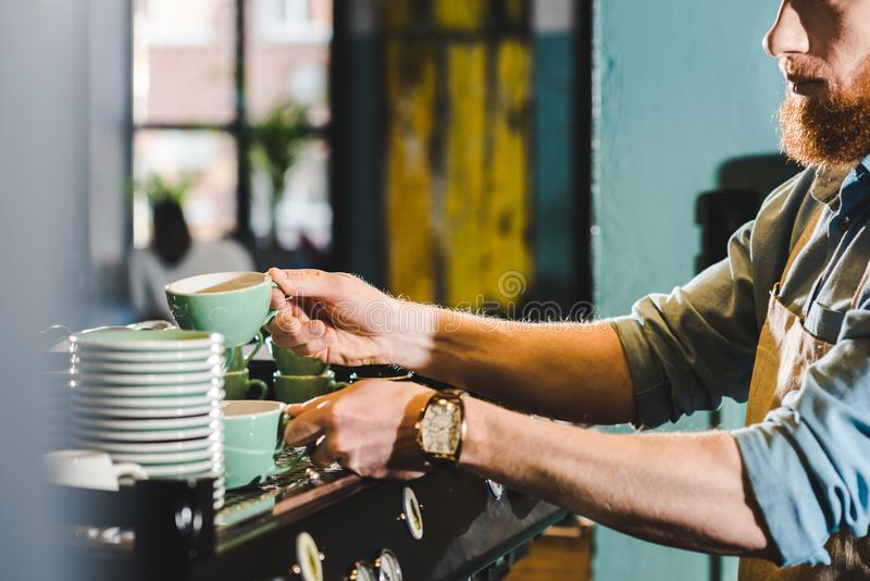 Cropped image of young male barista in apron taking mugs in coffee. Shop royalty free stock photos