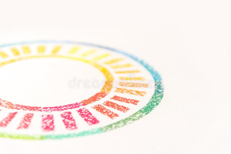 Cropped photo of circle drawn with colored pastel chalks, stock photo