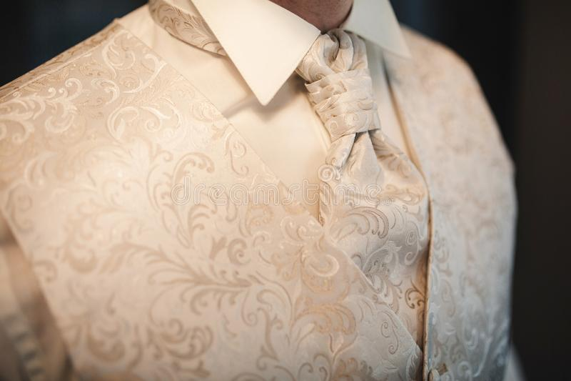 Cropped photo close-up men`s waistcoat with white pattern. Modern businessman stock photos