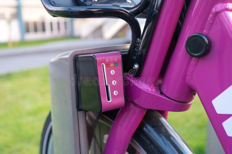 Cropped photo element of modern purple bicycle stock photo
