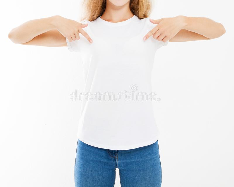 Cropped portrait woman in white tshirt isolated on white background, mock up for desigh stock images