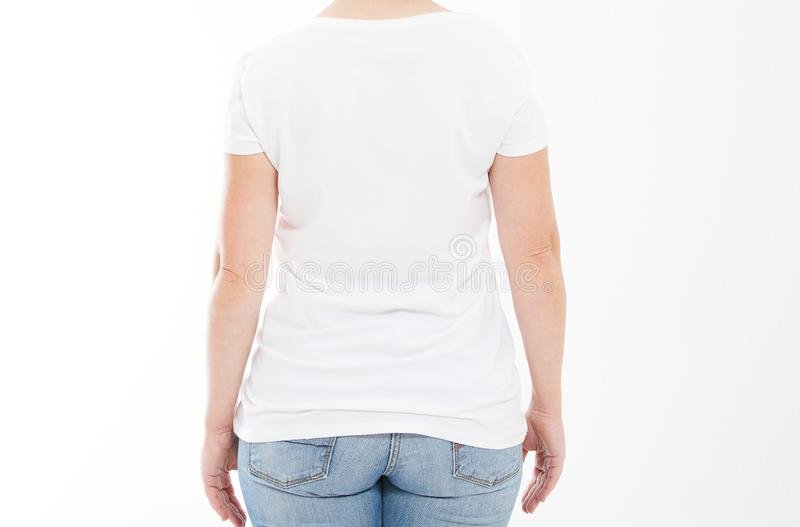 Cropped portrait woman middle age in tshirt isolated on white background royalty free stock image