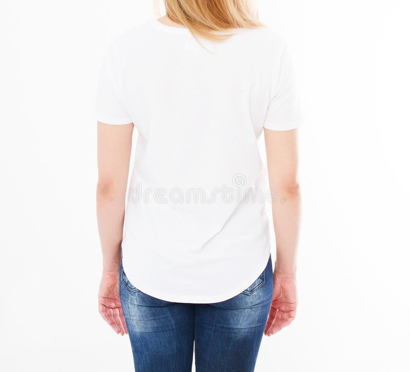 Cropped portrait of woman in t-shirt on white background.Mock up for design. Copy space. Template. Blank.  royalty free stock images