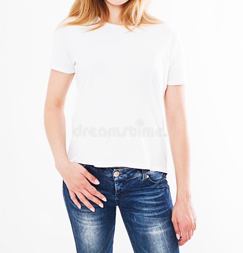Cropped portrait of woman in t-shirt on white background.Mock up for design.  royalty free stock photography