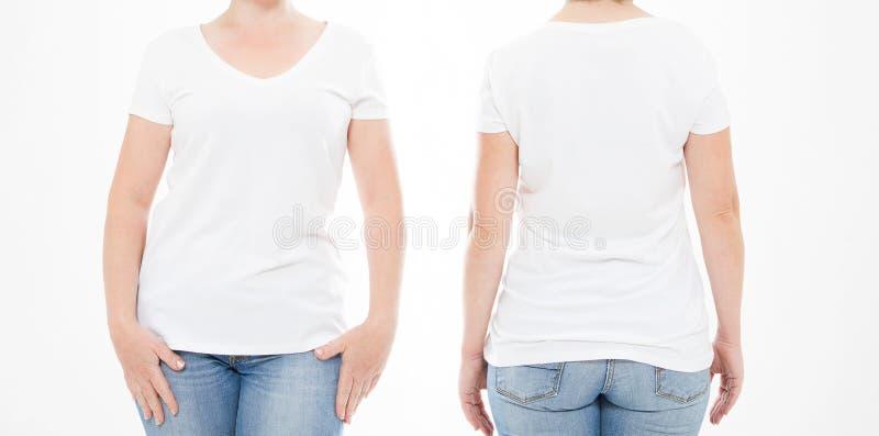 Cropped portret ustalona kobieta w tshirt na białym tle Egzamin próbny up dla projekta kosmos kopii szablon blank zdjęcia stock