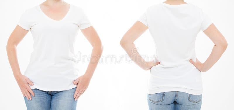 Cropped portret ustalona kobieta w tshirt na białym tle Egzamin próbny up dla projekta kosmos kopii szablon blank zdjęcia royalty free