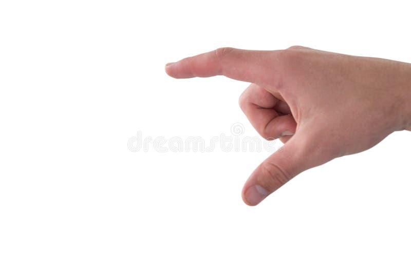 Cropped ręka dotyka imaginacyjnego ekran biznesowa osoba obrazy stock