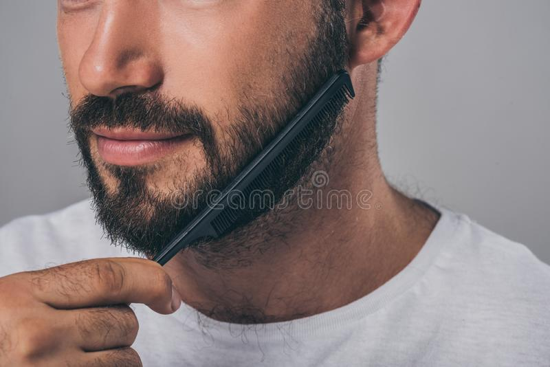 Cropped shot of bearded man combing beard with comb. Isolated on grey royalty free stock photography