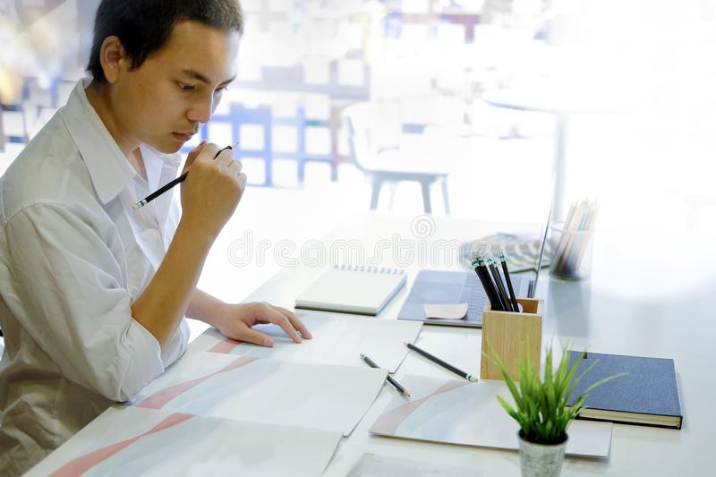 Business man working in his office. stock images