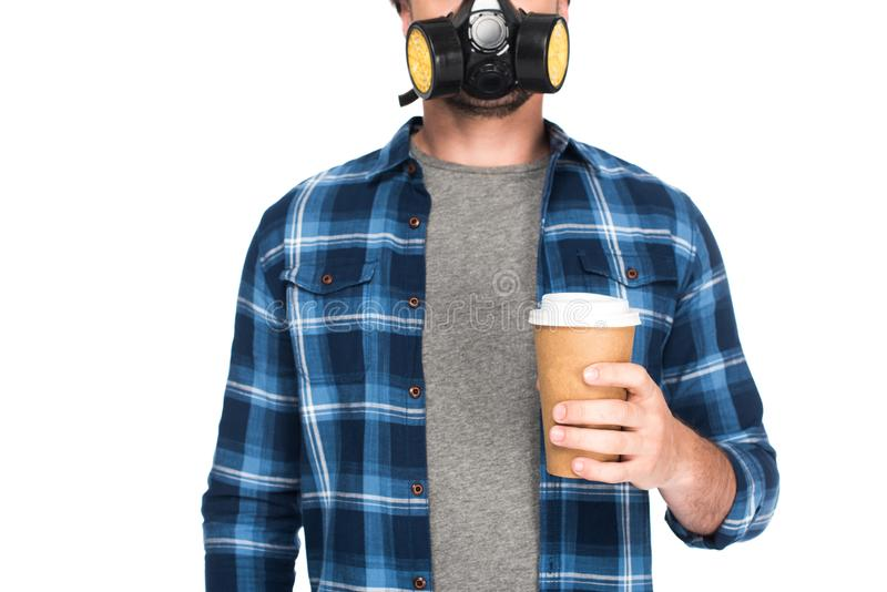 cropped shot of man in respirator holding coffee cup isolated on white background stock photos