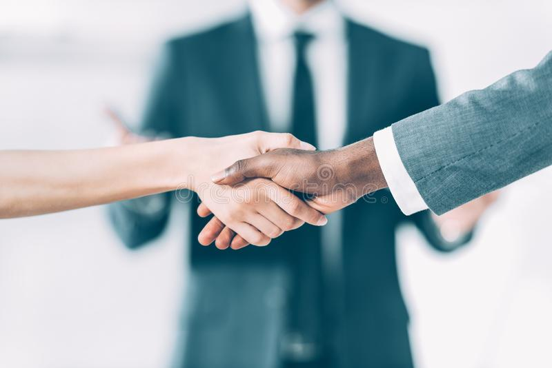 cropped shot of multicultural male and female business partners stock image