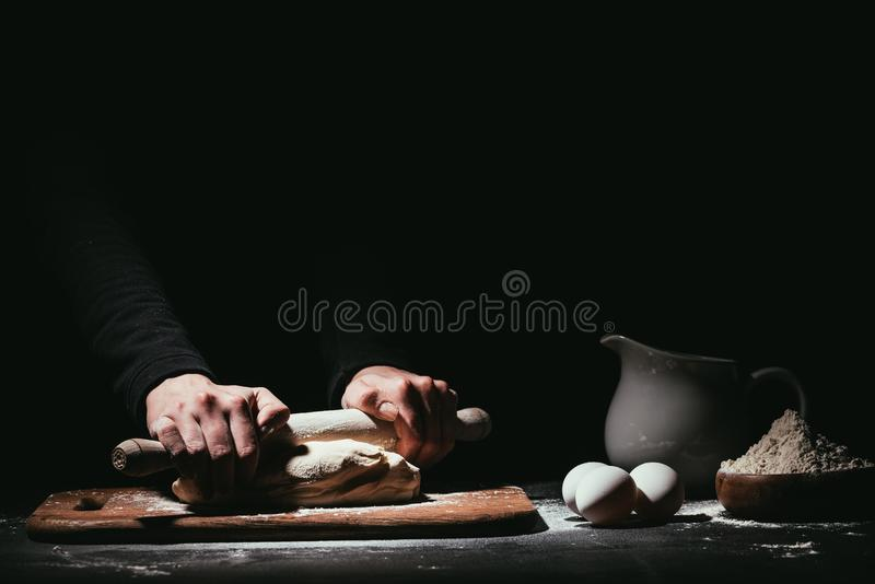 Download Cropped Shot Of Person Preparing Dough With Rolling Pin Stock Image - Image of dough, cropped: 114552917