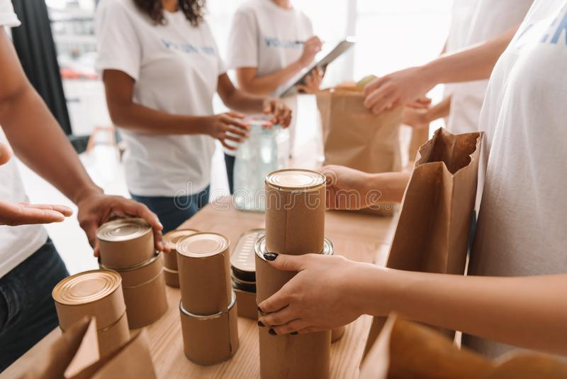 Volunteers sorting tin cans with food royalty free stock photos