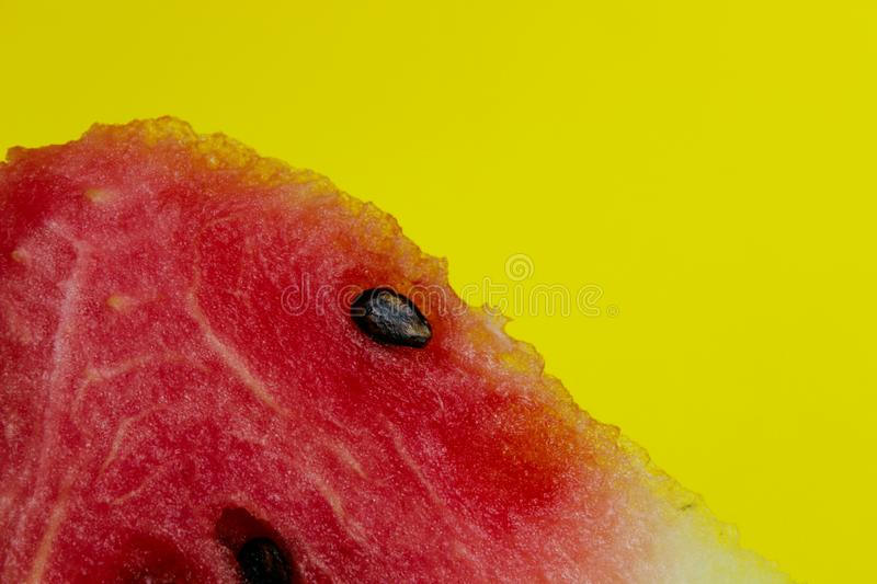 Cropped shot of watermelon. Colorful food background. Piece of watermelon over colorful background with a lot of copy space. royalty free stock photos