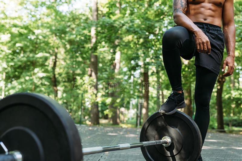 Cropped shot of a young muscular man royalty free stock images