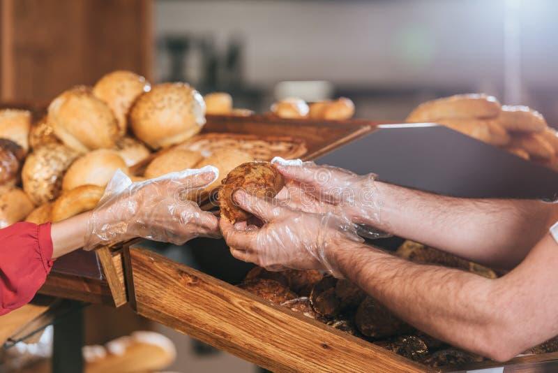 cropped strzał daje bochenkowi chleb kobieta sklepowy asystent fotografia stock