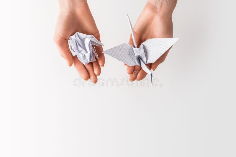 cropped strzał kobiety mienia piłka i ptak robić papier w rękach odizolowywać na popielatym, środowisku i przetwarzać pojęciu, obraz royalty free