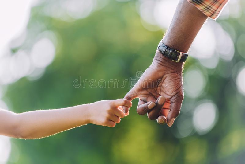 cropped view of african american grandfather holding hands royalty free stock image
