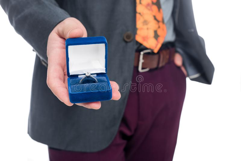 Cropped view of man proposing with ring,. Isolated on white royalty free stock photo