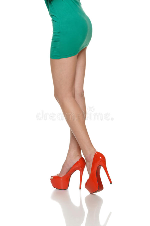 Green Skirt With White Shoes