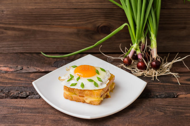 Croque-Madame, ein französisches Sandwich mit Grüns und Beerensaft für Frühstück Holztisch Beschneidungspfad eingeschlossen Nahau lizenzfreie stockfotos