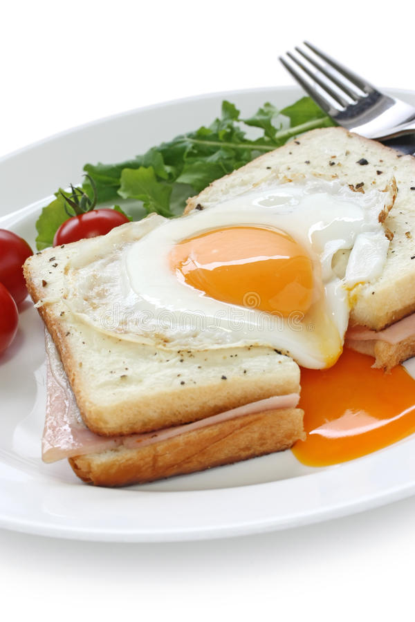 Croque madame , french ham and cheese sandwich wit royalty free stock images