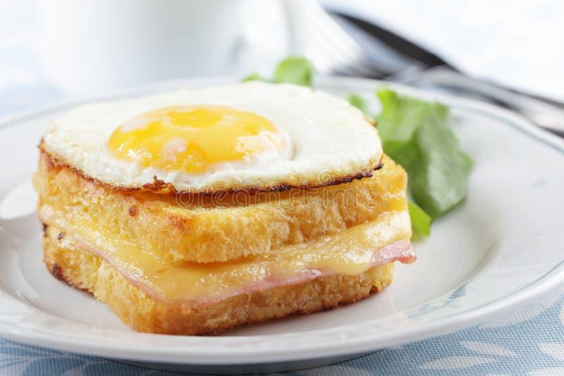 Croque madame sandwich stock photo