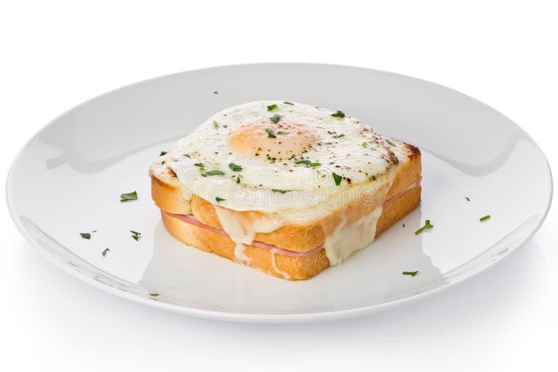 Croque-Madame Sandwich lizenzfreie stockfotos