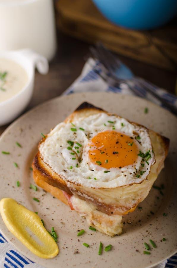 Croque madame sandwich, delish food royalty free stock image