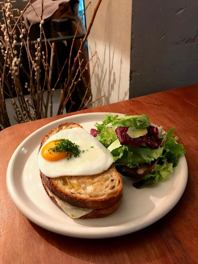 Croque Madame Sandwich with Fried Egg made with Sourdough Bread / French Breakfast stock photos