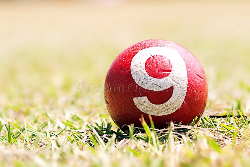 Croquet ball. On the green grace royalty free stock photos