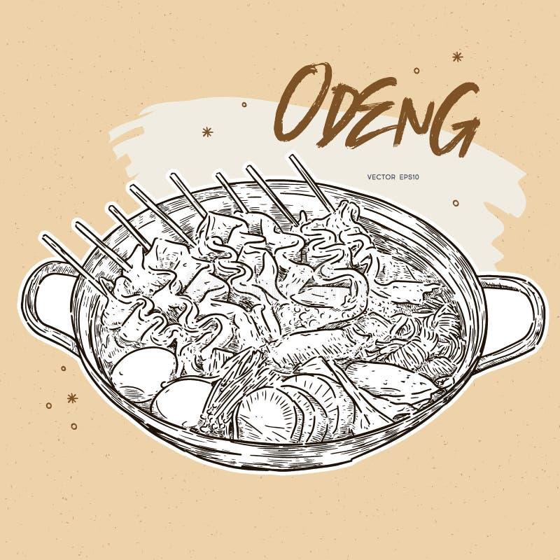 Croqueta de pescados asiática de comida Comida coreana del ejemplo, Odeng stock de ilustración