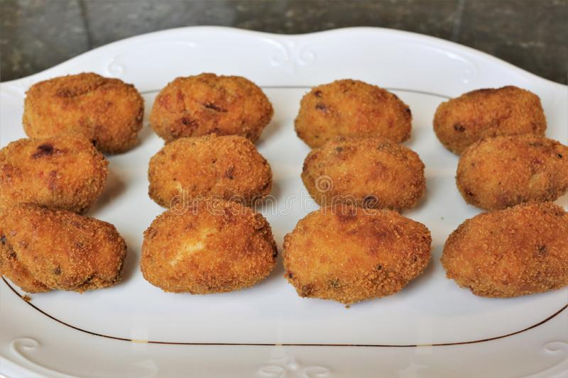 Croquettes fried in olive oil royalty free stock image
