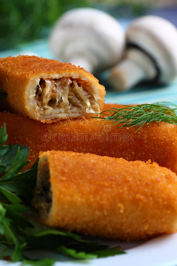 Croquettes With Mushrooms Stock Photography
