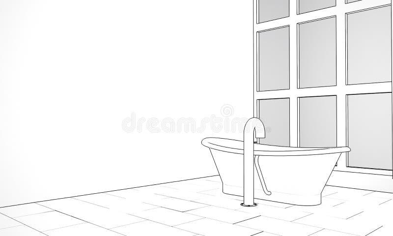 Croquis à l'encre d'une salle de bains de concepteur illustration de vecteur