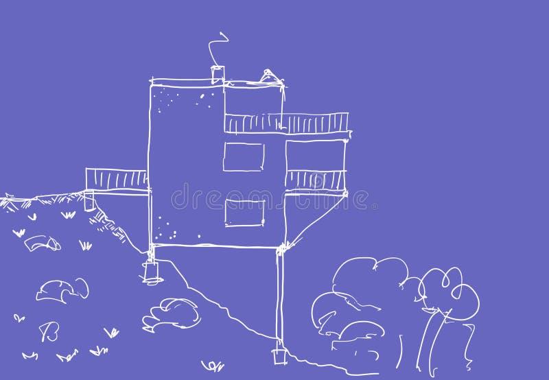 Croquis à la maison moderne illustration de vecteur