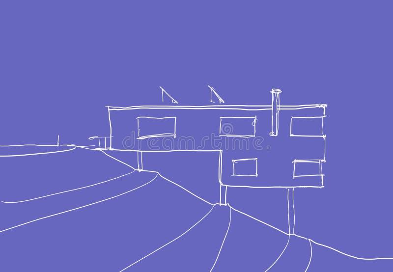 Croquis à la maison moderne illustration libre de droits