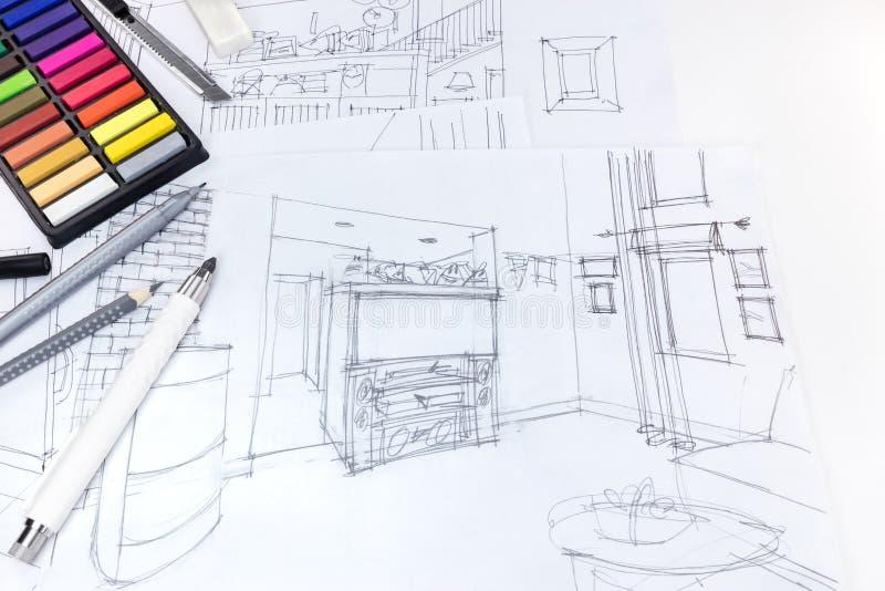 https://thumbs.dreamstime.com/b/croquis-%C3%A0-main-lev%C3%A9e-d-int%C3%A9rieur-et-d-outils-de-dessin-de-salon-sur-le-des-92849166.jpg