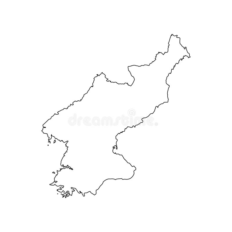 Croquis à main levée de carte de la Corée du Sud du nord et sur le fond blanc illustration de vecteur