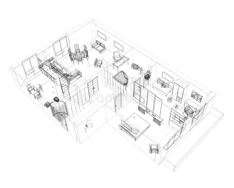 Croquis 3d d 39 un appartement de quatre pi ce illustration for Conception 3d appartement
