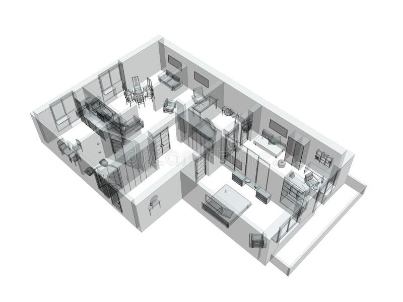 croquis 3d d'un appartement de quatre-pièce illustration stock