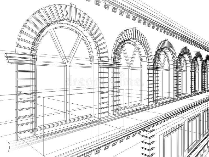 Croquis abstrait architectural illustration de vecteur