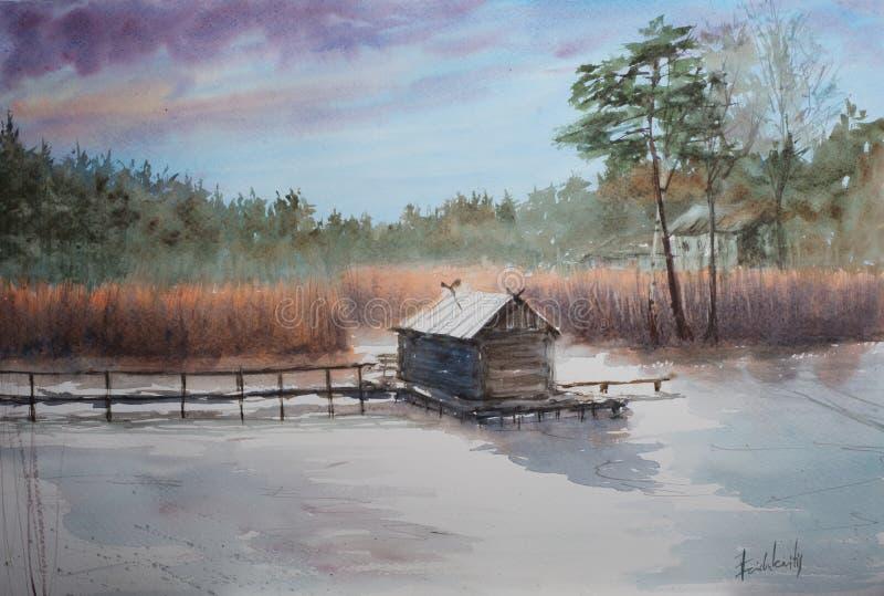 Croquis abstrait d'aquarelle de maison sur un lac de forêt illustration libre de droits