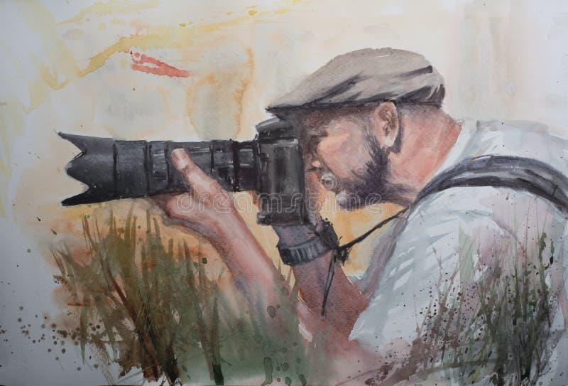 Croquis abstrait d'aquarelle de phtographer illustration de vecteur